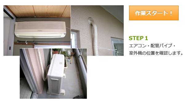 作業スタート STEP1 エアコン・配管パイプ・室外機の位置を確認します。